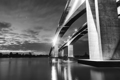 Gateway Bridge Motorway in Brisbane. Black and White. The Gateway Bridge Sir Leo Hielscher Bridges in Brisbane, Queensland, Australia Stock Image