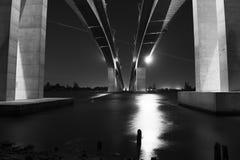Gateway Bridge Motorway in Brisbane. Black and White. The Gateway Bridge Sir Leo Hielscher Bridges in Brisbane, Queensland, Australia Royalty Free Stock Photography