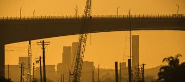 Gateway Bridge Motorway in Brisbane. Gateway Bridge Sir Leo Hielscher Bridges in Brisbane, Queensland, Australia Royalty Free Stock Image