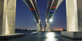 Gateway Bridge Motorway. The Gateway Bridge (Sir Leo Hielscher Bridges) at sunset in Brisbane, Queensland, Australia Stock Photos