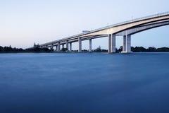 Gateway Bridge Motorway. The Gateway Bridge (Sir Leo Hielscher Bridges) at sunset in Brisbane, Queensland, Australia Stock Images
