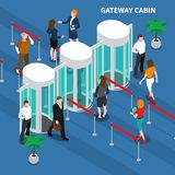 Gateway Cabin Access Identification Composition. Persons passing through gateway cabin for access identification isometric composition on blue background vector royalty free illustration