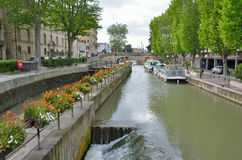 Gateway of the canal de la Robine in Narbonne Royalty Free Stock Photos