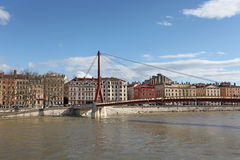 Gateway Courthouse bridge (Passerelle du Palais de Justice) in Lyon, France Royalty Free Stock Images