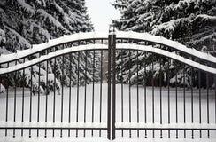 Gateway dans l'hiver Photographie stock libre de droits