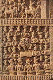 Gateway decoration Great Stupa. Sanchi, Madhya Pradesh, India Royalty Free Stock Photo