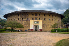 The Gateway of Fujian Tulou. The ancient architectures are located at Yongding Country of Fujian Province in China. Fujian Tulou is one of the 36 World Heritages Stock Photo
