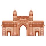 Gateway of India. Easy to edit vector illustration of Gateway of India in floral design royalty free illustration