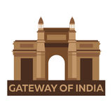 Gateway of India. Indian architecture. Mumbai. Modern flat design. Vector illustration. Stock Photos