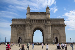 Gateway of India in Mumbai, India. Unidentified people ba Gateway of India in Mumbai. This is a monument built at 1924 by architect George Wittet royalty free stock photos