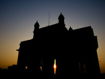 Gateway of India Silhouette. A silhouette of the Gateway of India in Mumbai stock photo