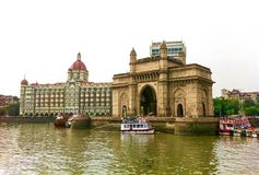 Gateway of India and Taj Mahal hotel. View of Gateway of India and Taj Mahal hotel from the seas off Mumbai, India Royalty Free Stock Photos