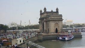 Gateway of India and tourist boats, Mumbai stock images