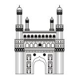 Gateway Indian national building isolated in black and white. Gateway Indian national building isolated vector illustration graphic design royalty free illustration