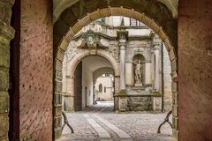 Gateway into Kronborg castle. Portal into Kronborg, the  castle  of Hamlet in Elsinore, Denmark, May 30, 2017 Royalty Free Stock Photo
