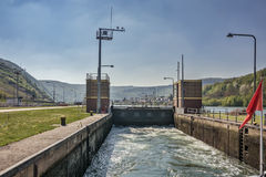 Gateway on the Moselle River. One of the locks on the navigable river Mosel in Germany Stock Photography