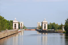 Gateway number 2 on the Moscow Canal. Built by architect Lisitsyn gateway number 2 on the Moscow Canal. Architectural and historical sites Stock Photography