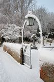 Gateway in the snow Royalty Free Stock Photography
