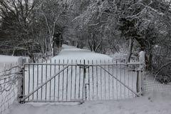 Gateway in snowy woodland Royalty Free Stock Photo