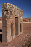 Gateway of the sun in Tiwanaku Stock Photo