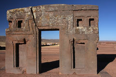 Gateway of the sun in Tiwanaku Royalty Free Stock Image