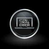 504 gateway timeout icon inside round silver and black emblem. Laptop webpage error symbol with HTTP Error 504 – Gateway Timeout icon inside round chrome Stock Photos