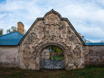 Gateway to the abandoned medieval manor. Large arched gate in an abandoned medieval manor. Photographed in the town of Pushkin, Leningrad district, Russia Royalty Free Stock Images