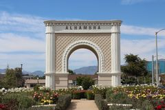 Gateway to Alhambra with garden stock photography