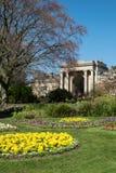 Gateway to Botanical Gardens, Sheffield, UK. Formal bedding scheme in Sheffield Botanical gardens Stock Photography
