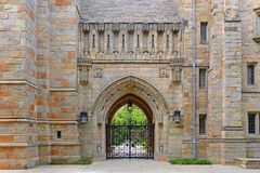 Branford Hall, Yale University, CT, USA. Gateway to Branford Hall in Yale University, New Haven, Connecticut, USA stock image