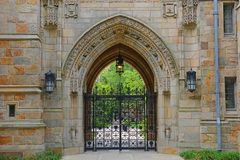 Branford Hall, Yale University, CT, USA. Gateway to Branford Hall in Yale University, New Haven, Connecticut, USA stock photo