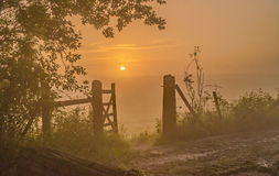 Over an open fence the sunrise is like a Gateway to a bright new dawn Royalty Free Stock Photos