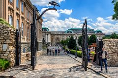Entrance to the Buda Castle, Budapest, Hungary. royalty free stock images