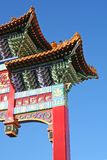 Gateway to Chinatown. Dragons and Culinary Delights abound beyond this point, taken on a stunning bright Day Stock Photos