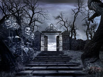 Gateway to the creepy garden. Horror scenery with stairs, old gateway and creepy sunflowers royalty free illustration
