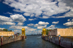 Gateway to the Dnieper. Open sluice gates on the Dnieper River on a clear sunny day in the port city of Zaporizhia Stock Images