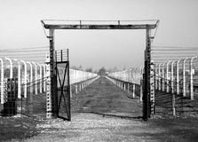 Gateway to gaschambers. In auschwitz taken in black and white colors stock images