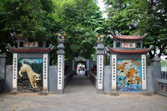 Gateway to The Huc Bridge and Ngoc Son Temple, Hoan Kiem Lake, Hanoi Stock Photography