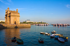 Gateway to India. Gateway of India and marina at sunset in Mumbai Royalty Free Stock Photography