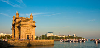 Gateway to India Panorama. Gateway of India at sunset in Mumbai Stock Photo