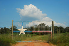 Gateway to the Lone Star. White stars, red, white, and blue paint are everywhere in Texas Stock Photography