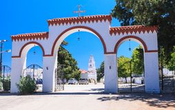Gateway to the Monastery of Kato Tsambika. Rhodes Island. Greece Stock Photo