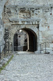 Gateway to the ruined medieval castle Royalty Free Stock Photo