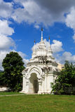 The gateway to the temple. The big white doorway in ancient Chiang Mai style, gate to the temple area of Suan Dok temple, Chiang Mai Thailand Royalty Free Stock Photography
