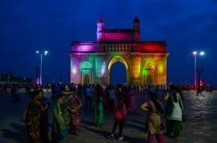 Gateway van 's nachts India stock foto