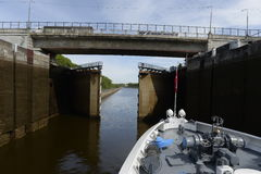 Gateways for ships on the Moscow Canal. Stock Photography