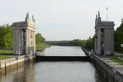 Gateways for ships on the Moscow Canal.r Stock Image