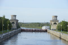Gateways for ships on the Moscow Canal.r Stock Photo