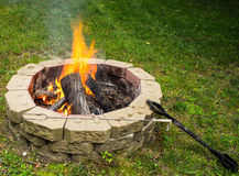 Gather Around the Campfire. Campfire ready to be enjoyed with friends and family royalty free stock images