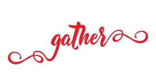 gather bokstäver Kalligrafivektorillustration Modern kalligrafi vektor illustrationer